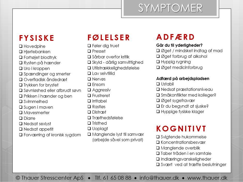 hvad er symptomer på stress